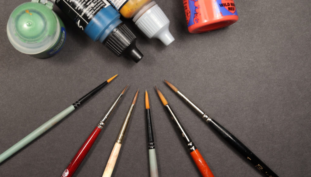 Miniature painting brushes